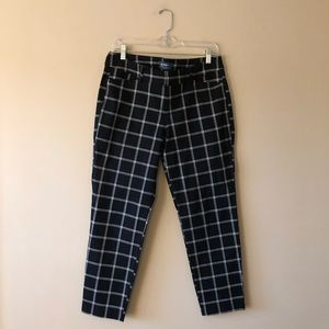 Old Navy black window pane check Pixie pants